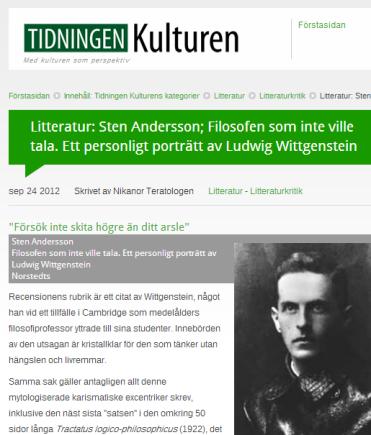 tidningen Kulturen Wittgenstein