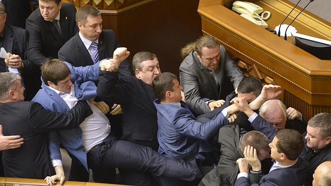 Chaotic scenes Kiev parliamnet Vladimir Strumkovsky AP
